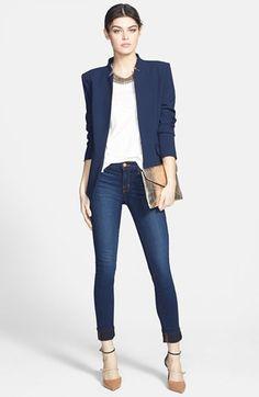 Trouvé Jacket, rag & bone/JEAN Tee & J Brand Skinny Jeans and Jimmy Choo Heels..--Killer NYC Weekend Outfit--