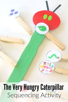 Very Hungry Caterpillar Storybook Sequencing Stick with Printable | School Time Snippets. Pinned by SOS Inc. Resources. Follow all our boards at pinterest.com/sostherapy/ for therapy resources.