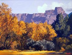 ted-hoefsloot-autumn-at-the-amphitheatre- African Paintings, South African Artists, Palette Knife Painting, Afrikaans, Landscape Paintings, Ted, Landscaping, Art Gallery, Autumn