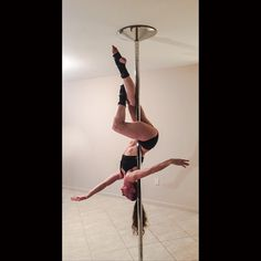 Entry: invert, outside leg hang, bring the inside leg across, straighten the outside leg?   Sweet little pixie pose from Power Pole® Privates this week  www.powerpolesports.com #polelove #alwaysupsidedown #makingshapes