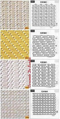 Knitting and Crochet Patterns for your designs. They will help you with crochet scheme. Filet Crochet, Crochet Stitches Chart, Crochet Motif Patterns, Crochet Diagram, Crochet Designs, Crochet Lace, Stitch Patterns, Knitting Patterns, Confection Au Crochet