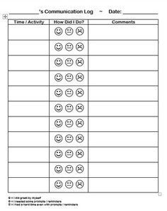 Our Special Day Class teacher asked me to create a simple communication log that can be filled out throughout the day and be sent home to parents to let them know how a student did.It is very simple, but editable (Word), so feel free to make changes as needed :)