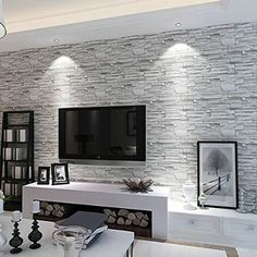 Rural Style Imitation Brick Wall Pattern Looks Real Up Wallpaper 20.86 inches by 393.7 inches Long Murals PVC Vinyl Dimensional 3D Gray Wall Paper TV Living Room Bedroom Decor Light Gray