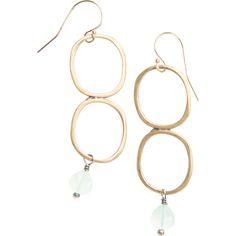 Double yellow bronze drop earrings with chalcedony