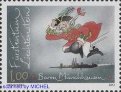 Baron Münchhausen auf Briefmarke aus Liechtenstein