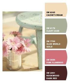 shabby chic color palette from Chip It! by Sherwin-Williams Shabby Chic Bedrooms, Shabby Chic Homes, Shabby Chic Furniture, Shabby Chic Decor, Trendy Bedroom, Shabby Chic Paint Colours, Paint Colors, Bedroom Color Schemes, Colour Schemes