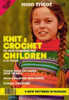 Mon Tricot MD 48 Knit Crochet Patterns Children 6-12 Dog Sweater Dress 1977 #MonTricotKnitandCrochet
