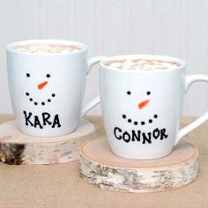 Personalized snowman mugs using inexpensive mugs and permanent markers.