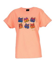 This Laurel Burch Salmon & Blue Feline Faces Short-Sleeve Tee by Laurel Burch is perfect! #zulilyfinds