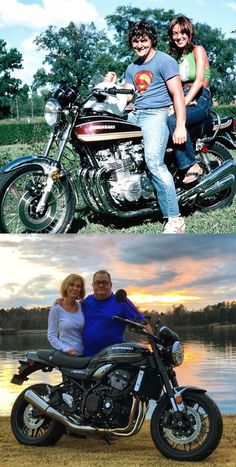 My Mom and Dad on his new Kawasaki Z1 in 1975. Then my Mom and Dad present day and his new 2018 Kawasaki Z900RS.