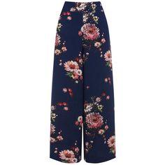 Warehouse Painted Floral Culottes, Multi featuring polyvore, women's fashion, clothing, pants, capris, wide leg trousers, floral crop pants, floral pants, flower print pants and wide leg cropped pants