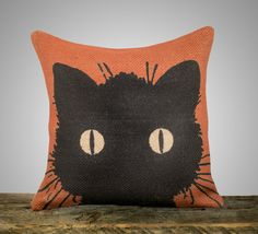 Black Cat Pillow Cover, Halloween Decoration, Orange Burlap Throw Pillow…