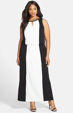 London+Times+Embellished+Colorblock+Halter+Maxi+Dress+(Plus+Size)+available+at+#Nordstrom