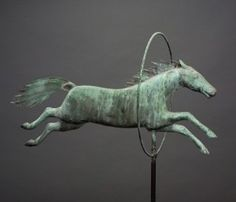 A.L. Jewell & Co. antique horse jumping through hoop molded copper weather vane