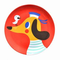 #Dog #melamine #plate by Helen Dardik from www.kidsdinge.com https://www.facebook.com/pages/kidsdingecom-Origineel-speelgoed-hebbedingen-voor-hippe-kids/160122710686387?sk=wall #kids #toys #speelgoed