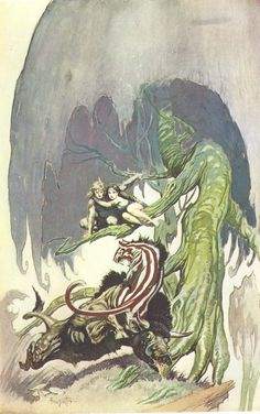 I've always liked the peppermint-striped cat in this picture (by Frank Frazetta, of course).