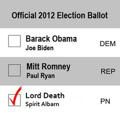 Who else would vote for Death? Uh, me. I cosplay him XD <<< I want to know people like you! Also, why wasn't Lord Death a choice? XD