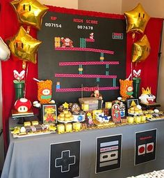 Like big hair, bright colors and alot more, so why not have a party. I have some of the best theme party ideas. That will make your theme party a complete success. Super Mario Party, Super Mario Birthday, Mario Birthday Party, Birthday Games, Birthday Party Themes, Birthday Decorations, Zelda Birthday, Retro Birthday, Sons Birthday