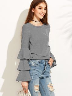 Striped Layered Bell Sleeve Ruffle Blouse
