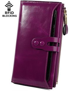 1a2e81314e1 YALUXE Women s RFID Blocking Security Large Capacity Leather Clutch Wallet  Fuchsia
