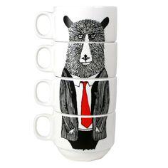 Hand+painted+set+of+4+Coffee+cups++Mr+Bear+van+jimbobart+op+Etsy,+$69.00