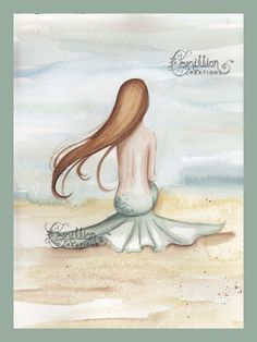 Mermaid Watching the Tide Print from Original Watercolor Painting by Camille Grimshaw via Etsy
