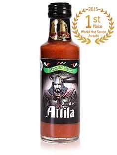 Attila - extra scharfe Chili Sauce Place World Hot Sauce Awardes 2015 Chili, Jack Daniels Whiskey, Hot Sauce, Whiskey Bottle, Drinks, Goulash, Attila, Foods, Drinking