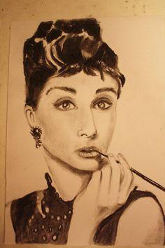 Audrey Hepburn - Charcoal Drawing by ~CaptainBoss on deviantART