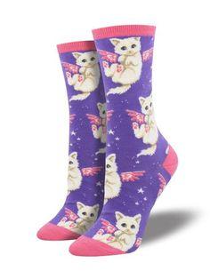 Socksmith Women/'s Crew Socks Christmas Holiday Cat-astrophe Kitty Cats Green