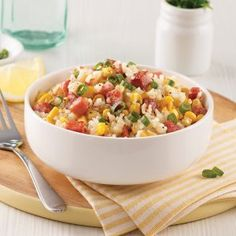 Ham and Corn Rice - 5 ingredients 15 minutes Confort Food, Balanced Meals, Coco, Ham, Macaroni And Cheese, Main Dishes, Delish, Food Porn, Lunch