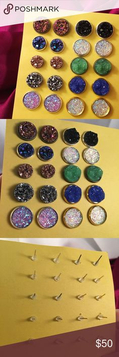 Druzy Stud Collection 10 pairs of faux druzy studs. Measuring from 10mm-14mm. Some are brand new, others worn once. Sold together. Great highlight to any outfit and enough variety to pair with any bold necklace!💕 Nickel and lead free👍🏼 Abuelita's Attic Jewelry Earrings