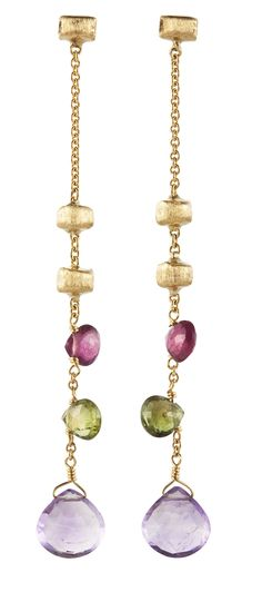 Pink and green tourmaline and amethyst single row drop earrings set in 18ct yellow gold, PARADISE by Marco Bicego. http://nigelmilne.co.uk/products/paradise-gemstone-earrings-by-marco-bicego #Amethyst #Green #Pink #Tourmaline #18ct #Yellow #Gold #drop #earrings #Jaipur #India #Marco #Bicego #Italian #Jewellery #London #Nigel #Milne #NigelMilne #Piccadilly #Arcade #Paradise