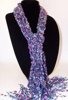 Knit Scarf, Ladder Yarn Scarf, Blue Gray Pink Knit Scarf, Fashion Scarf, Women Teen Girls, Scarf by WeeCatCreations, Long Knit Scarf