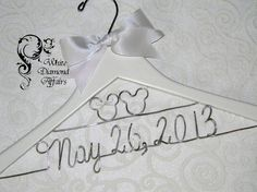 Mickey and Minnie Mouse Disney Themed Wedding Dress Hanger, Personalized Bridal Hanger, Personalized Bridal Gift - Rush delivery available via Etsy