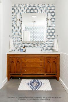 Design work by: Quarterlab Design Build - - quarterlab. Rustic Bathroom Vanities, Wood Bathroom, White Bathroom, Modern Bathroom, Bathroom Plants, Lavender Bathroom, Minimal Bathroom, Neutral Bathroom, Bathroom Mirrors