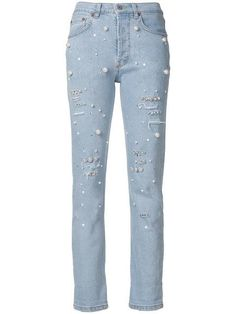 Forte Couture Pearl Embellished Jeans In Denim Polyvore Dress, Polyvore Outfits, Cool Outfits, Fashion Outfits, Dress Outfits, Embellished Jeans, Ladies Dress Design, Diy Clothes, Skinny Jeans