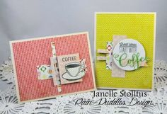 Handmade coffee cards by Janelle Stollfus using the Coffee set from Verve. #vervestamps