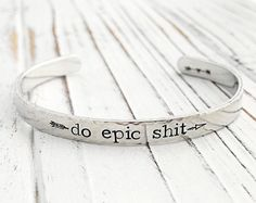 Demitasse Do Epic Shit Stamped Ring Silver Plated Vintage Jewelry Adjustable Mantra Ring Spoon Jewelry