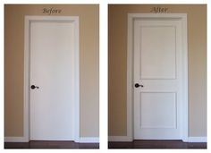 add molding to door to create luxe look.