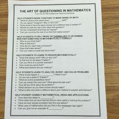 The Art of Questioning in Mathematics