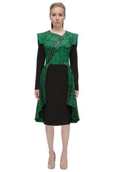 'Dancing Grass' Multilayered, Long Sleeve Midi Dress