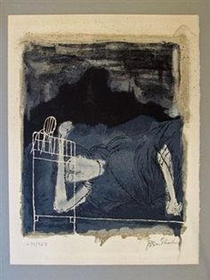 """""""SCREAMS OF A WOMAN IN LABOR"""" from for the sake of a single verse- rilke portfolio By Ben Shahn"""