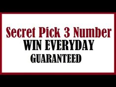 Secret Pick 3 Lottery Numbers To Win Everyday 2017 (Guaranteed)