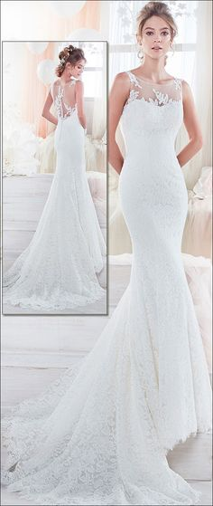 Stunning Tulle & Lace Scoop Neckline Mermaid Wedding Dress With Beaded Lace Appliques