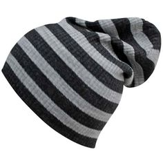 Light Gray Striped Mega Slouch Knit Beanie Cap Hat ($16) ❤ liked on Polyvore featuring accessories, hats, light grey, knit hats, skull cap, slouchy hat, beanie cap and slouch hat