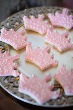 Princess Convention Beautiful pink crown cookies for a princess birthday partyBeautiful pink crown cookies for a princess birthday party Pink Princess Party, Disney Princess Birthday Party, Baby Shower Princess, First Birthday Parties, Cinderella Party, Girl Birthday, First Birthdays, Tangled Party, Princess Sophia