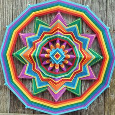 Rainbow Flag 18 inch 12-sided yarn mandala by por JaysMandalas