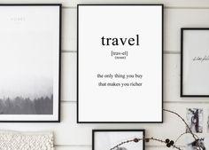 Reizen, reizen definitie, inspirerende Poster, definities 8 x 10, reizen Print, Scandinavische kunst, definities Poster, typografie