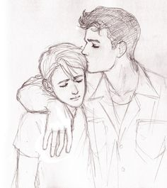 brumous: Steve/Bucky <3<3<3  Drawn in pencil, scanned rather poorly. (I miss you, drawing tablet)