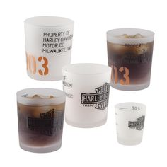 H-D® 1903 Tum bler & Shot Glass Set H-D 1903 Tumbler Set will quickly become your favorite! Gift set includes four frosted 14 oz. H-D 1903 Tumblers and a matching 2 oz. Shot Glass with markings for 1, 1.5, and 2 oz. measures for easy preparation of your favorite drink. Coordinates perfectly with the rest of the 1903 Collection.
